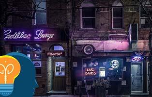 Fachada de un bar nocturna