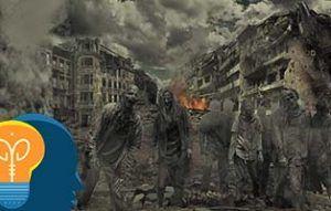 Zombies en una ciudad destruida